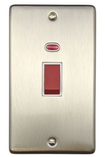 G&H CSS28W Standard Plate Brushed Steel 45 Amp DP Cooker Switch & Neon Vertical Plate